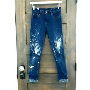Paint deconstructed blue Jean's jeggings sz M